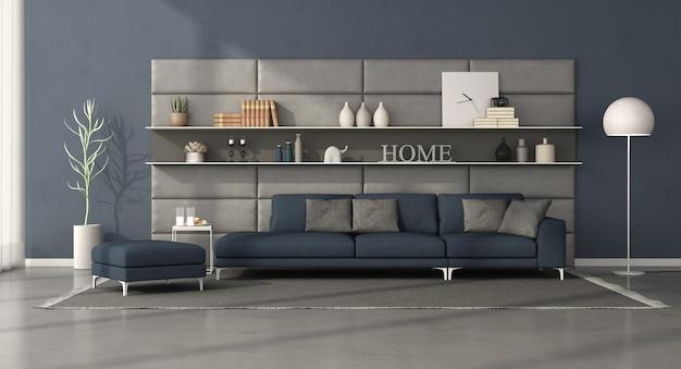 Современная гостиная с темно-синим диваном напротив кожаного панно с полками. 3d рендеринг