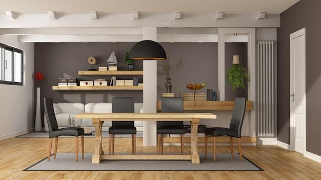 ディナーテーブル付きのモダンなリビングルーム