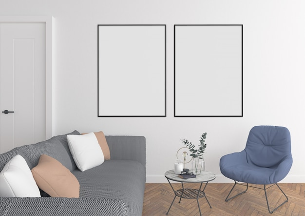 Modern living room with double frames