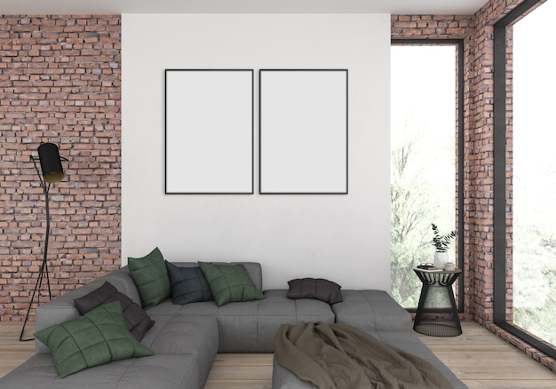 Modern living room with empty double frames for photo or artwork