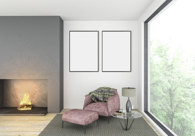 Modern living room with empty double frames