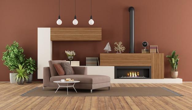 暖炉とチャイデラウンジのあるモダンなリビングルーム
