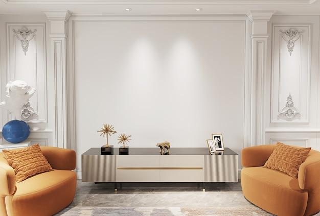 가구 3d 렌더가 있는 현대적인 거실