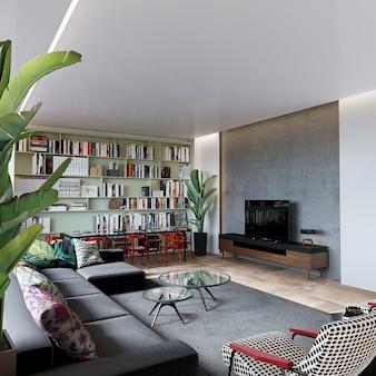 Современная гостиная с мебелью и книжной полкой, 3d визуализация