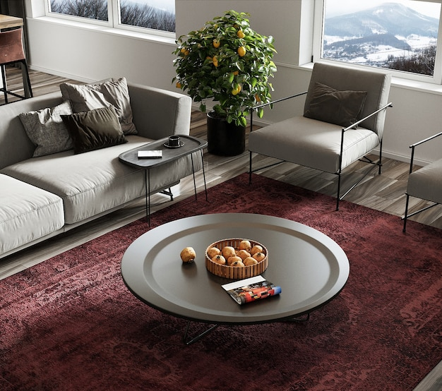 Modern living room with furniture and red carpet, free