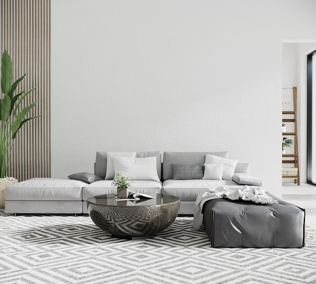 灰色のソファとテーブルのあるモダンなリビングルーム