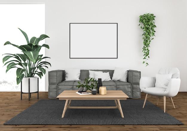 Modern living room with a grey sofa, horizontal frame mockup, artwork background