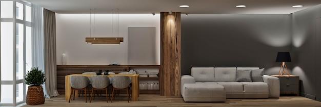 廊下とキッチンのあるモダンなリビングルーム-ダイニングルーム