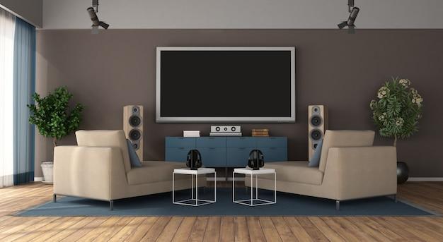 Современная гостиная с системой домашнего кинотеатра и современным шезлонгом
