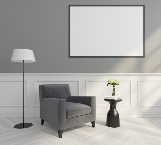 Modern living room with minimalist armchair, picture frame and white wall cornice. 3d rendering