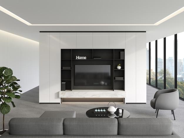 ミニマリストのテレビの背景3dレンダリンググレーのカーペットの床と白い塗られた壁のモダンなリビングルーム