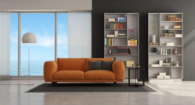 Современная гостиная с оранжевым диваном и книжным шкафом - 3d-рендеринг