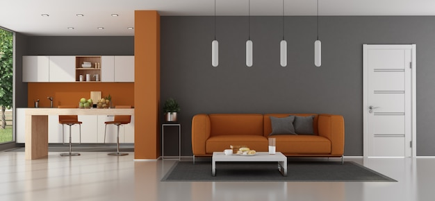 Modern living room with orange sofa  kitchen