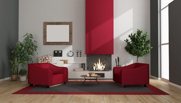 赤い暖炉とアームチェアのあるモダンなリビングルーム