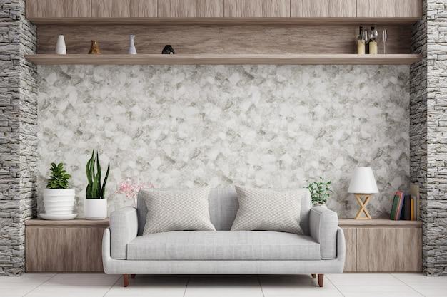 棚、ソファ、ランプ、植木鉢のあるモダンなリビングルーム