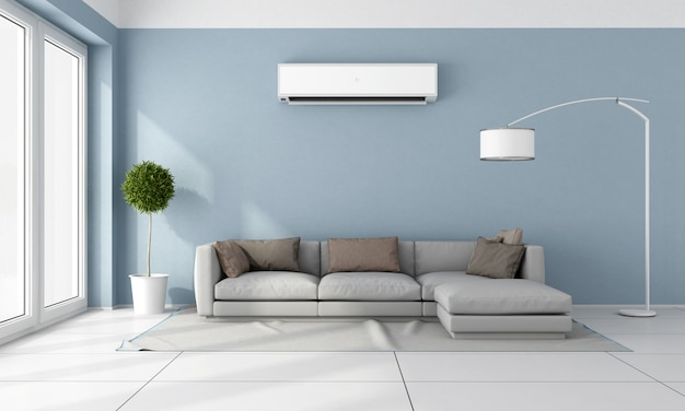 A modern living room with a sofa and air conditioner