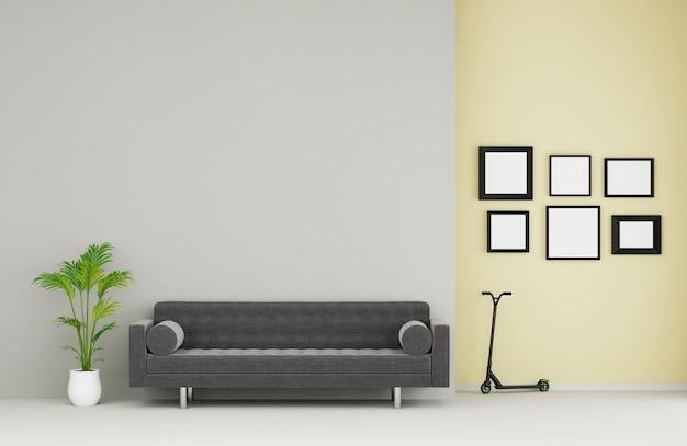 Современная гостиная с диваном и мебелью
