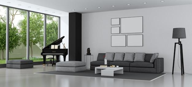 Современная гостиная с диваном и роялем