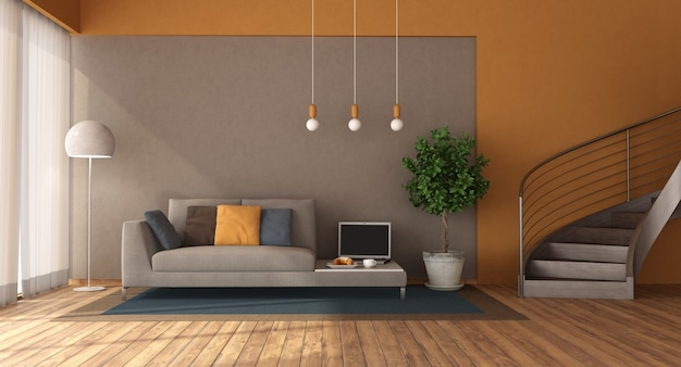 ソファと木製の階段のあるモダンなリビングルーム