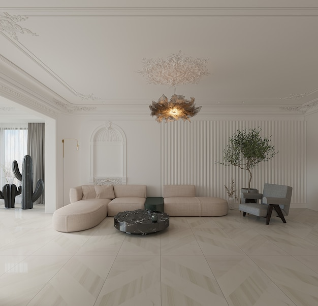 Modern living room with sofa, armchair, coffee table and ceramic floor design