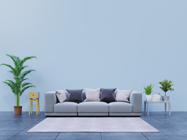 Modern living room with sofa and decoration have back dark wall
