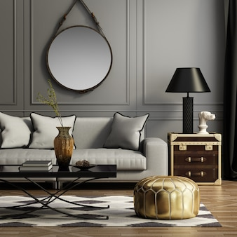 Modern living room with sofa and decoration