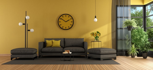 Modern living room with sofa and footstool