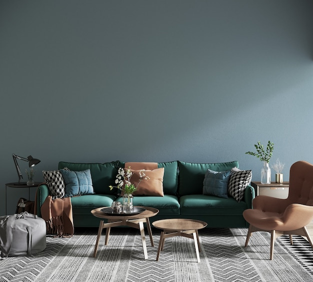 Modern living room with sofa in front of the blue wall