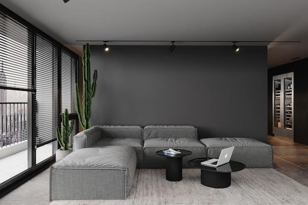灰色の壁の前にソファのあるモダンなリビングルーム