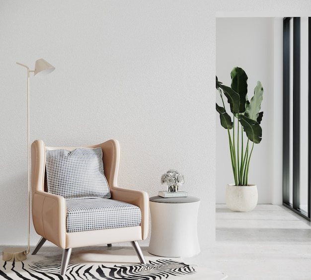 Modern living room with sofa and plant
