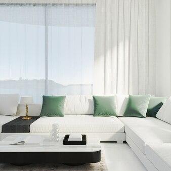 밝은 조명이 있는 방에 흰색 소파와 흰색 커튼이 있는 현대적인 거실, 3d 렌더링