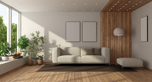 白いソファと木製の羽目板のモダンなリビングルーム