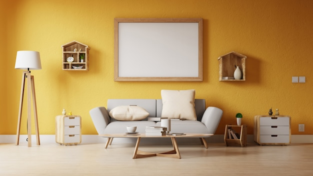 Modern living room with white sofa have cabinet and wood shelves on wood flooring and white wall Premium Photo