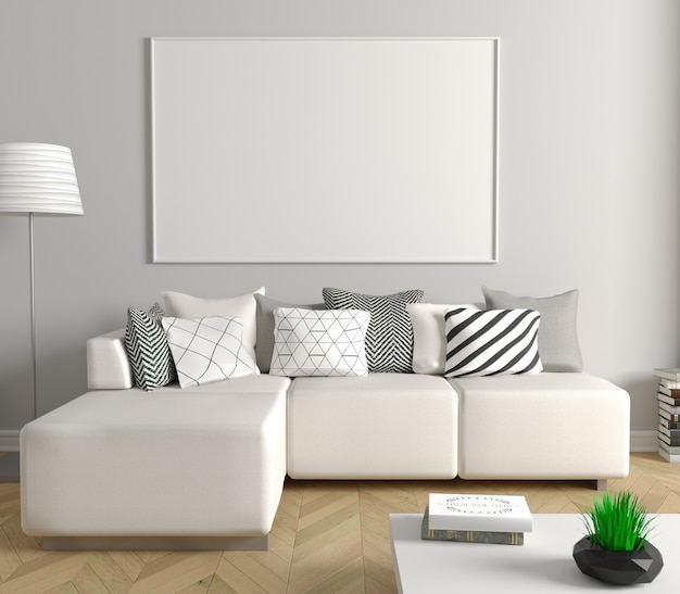 Modern living room with white sofa