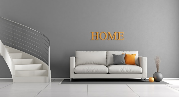 Modern living room with white staircase and sofa. 3d rendering
