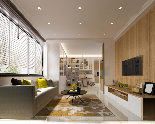 Modern living room with wood tv wall