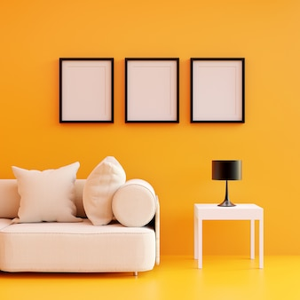 Modern living room yellow color with sofa and furniture and group of picture frame on the wall.