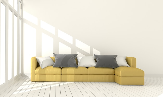 Modern living with yellow sofa and plants empty white wall background. 3d rendering