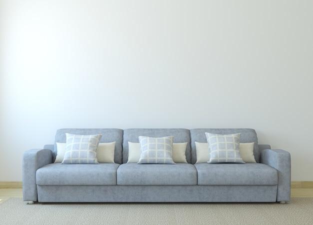 Интерьер современной гостиной с серым диваном у пустой белой стены