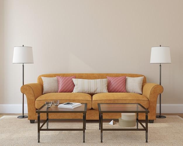 Интерьер современной гостиной с оранжевым диваном