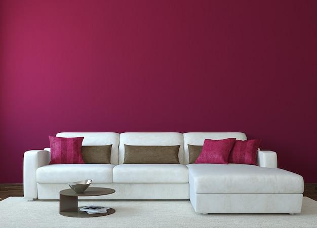 Интерьер современной гостиной с белым диваном у пустой красной стены