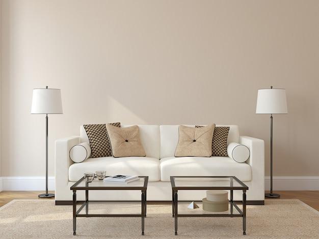Интерьер современной гостиной с белым диваном