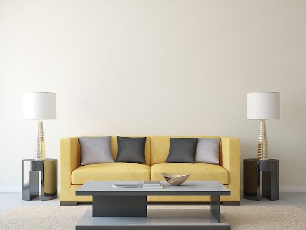 Современная гостиная с желтым диваном