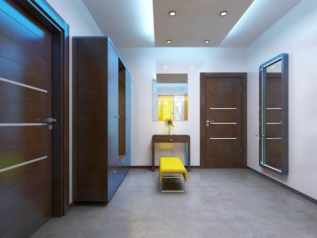 Современная прихожая вестибюля в современном стиле. мебель коричневая, межкомнатные стеклянные двери желтые. 3d визуализация.