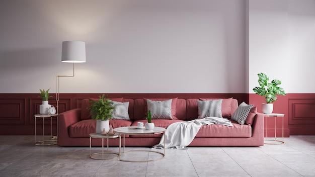 Современный лофт и винтажный интерьер гостиной, красный диван и золотая лампа на белом