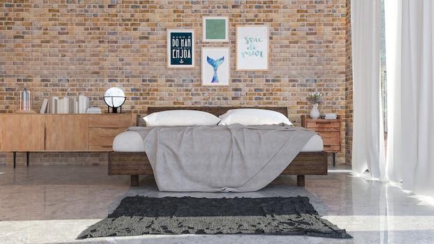 The modern of loft bedroom.3d rendering