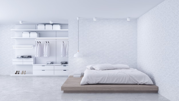 Modern loft of bedroom and dressing room interior
