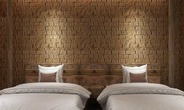 モダンなロフトの寝室のインテリアデザインとレンガの壁のテクスチャの背景