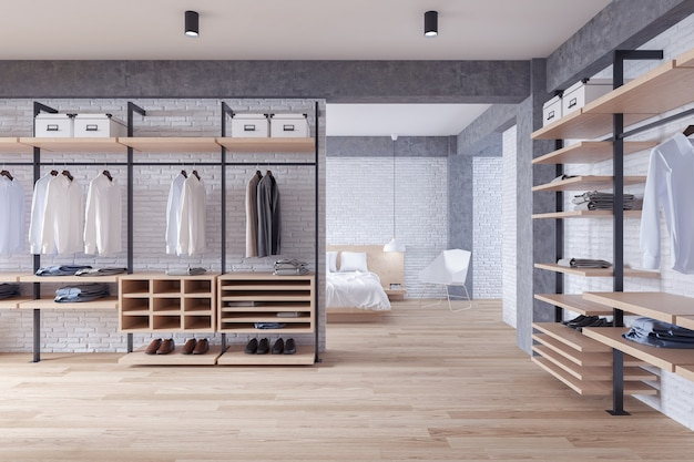 Modern loft dressing room and bedroom