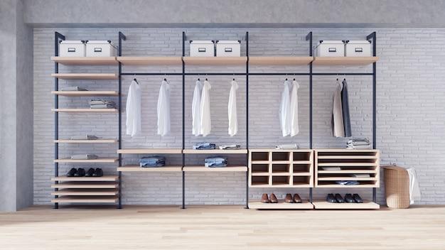 Современная концепция интерьера гардеробной в стиле лофт